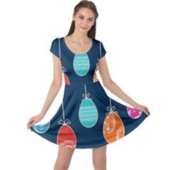 Easter Egg Balloon Pink Blue Red Orange Cap Sleeve Dresses by Alisyart