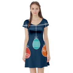 Easter Egg Balloon Pink Blue Red Orange Short Sleeve Skater Dress by Alisyart