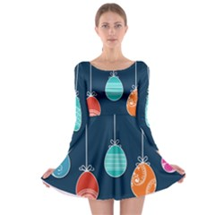 Easter Egg Balloon Pink Blue Red Orange Long Sleeve Skater Dress by Alisyart