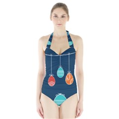Easter Egg Balloon Pink Blue Red Orange Halter Swimsuit by Alisyart