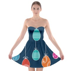 Easter Egg Balloon Pink Blue Red Orange Strapless Bra Top Dress by Alisyart