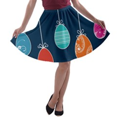 Easter Egg Balloon Pink Blue Red Orange A Line Skater Skirt by Alisyart