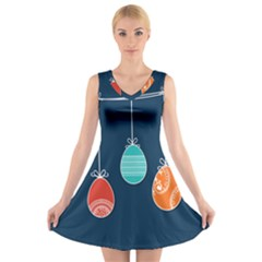 Easter Egg Balloon Pink Blue Red Orange V Neck Sleeveless Skater Dress by Alisyart