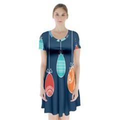 Easter Egg Balloon Pink Blue Red Orange Short Sleeve V-neck Flare Dress by Alisyart