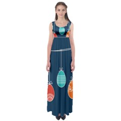 Easter Egg Balloon Pink Blue Red Orange Empire Waist Maxi Dress by Alisyart