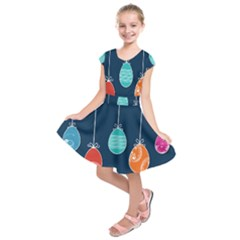 Easter Egg Balloon Pink Blue Red Orange Kids  Short Sleeve Dress by Alisyart