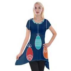 Easter Egg Balloon Pink Blue Red Orange Short Sleeve Side Drop Tunic by Alisyart