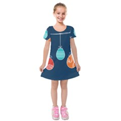 Easter Egg Balloon Pink Blue Red Orange Kids  Short Sleeve Velvet Dress by Alisyart