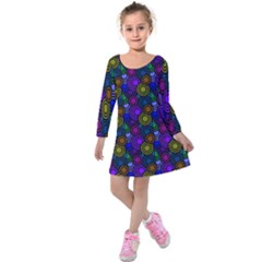 Circles Color Yellow Purple Blu Pink Orange Kids  Long Sleeve Velvet Dress by Alisyart