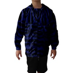 Skin2 Black Marble & Blue Leather Hooded Wind Breaker (kids) by trendistuff