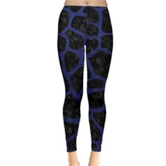 Skin1 Black Marble & Blue Leather (r) Leggings  by trendistuff