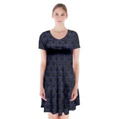 Scales2 Black Marble & Blue Leather Short Sleeve V Neck Flare Dress by trendistuff