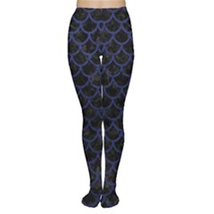 Scales1 Black Marble & Blue Leather Tights by trendistuff