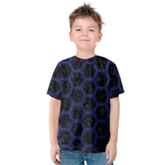 Hexagon2 Black Marble & Blue Leather Kids  Cotton Tee by trendistuff