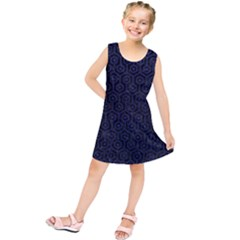 Hexagon1 Black Marble & Blue Leather Kids  Tunic Dress by trendistuff