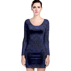 Damask1 Black Marble & Blue Leather (r) Long Sleeve Bodycon Dress by trendistuff