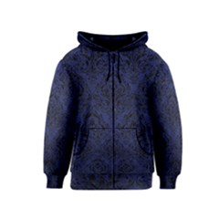 Damask1 Black Marble & Blue Leather (r) Kids  Zipper Hoodie by trendistuff