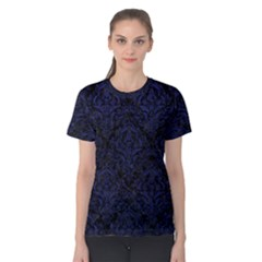 Damask1 Black Marble & Blue Leather Women s Cotton Tee by trendistuff