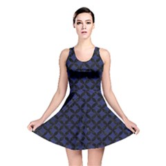 Circles3 Black Marble & Blue Leather (r) Reversible Skater Dress by trendistuff
