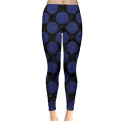 Circles2 Black Marble & Blue Leather Leggings  by trendistuff