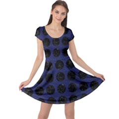 Circles1 Black Marble & Blue Leather (r) Cap Sleeve Dress