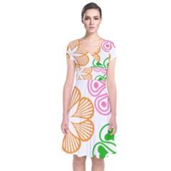 Flower Floral Love Valentine Star Pink Orange Green Short Sleeve Front Wrap Dress by Alisyart