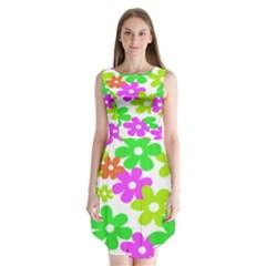 Flowers Floral Sunflower Rainbow Color Pink Orange Green Yellow Sleeveless Chiffon Dress   by Alisyart