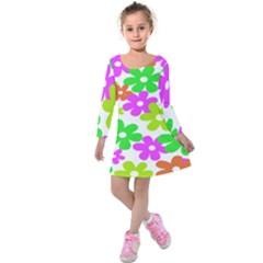 Flowers Floral Sunflower Rainbow Color Pink Orange Green Yellow Kids  Long Sleeve Velvet Dress by Alisyart