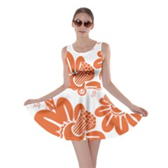 Floral Rose Orange Flower Skater Dress by Alisyart
