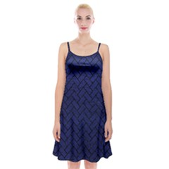 Brick2 Black Marble & Blue Leather (r) Spaghetti Strap Velvet Dress by trendistuff