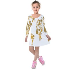 Map Dotted Gold Circle Kids  Long Sleeve Velvet Dress by Alisyart