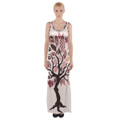 Tree Butterfly Insect Leaf Pink Maxi Thigh Split Dress by Alisyart