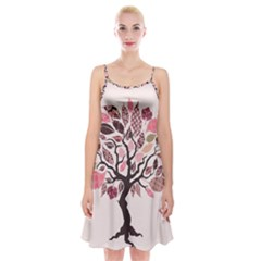 Tree Butterfly Insect Leaf Pink Spaghetti Strap Velvet Dress by Alisyart