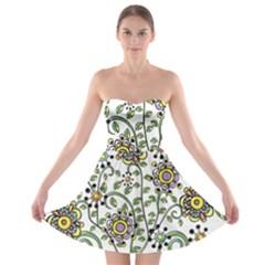 Frame Flower Floral Sun Purple Yellow Green Strapless Bra Top Dress by Alisyart