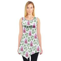 Rose Flower Pink Leaf Green Sleeveless Tunic by Alisyart