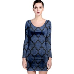Tile1 Black Marble & Blue Stone (r) Long Sleeve Bodycon Dress by trendistuff