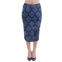 Tile1 Black Marble & Blue Stone (r) Midi Pencil Skirt by trendistuff