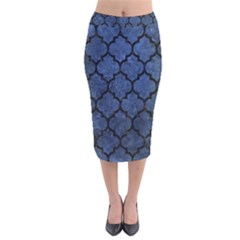 Tile1 Black Marble & Blue Stone (r) Velvet Midi Pencil Skirt by trendistuff