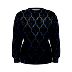 Tile1 Black Marble & Blue Stone Women s Sweatshirt by trendistuff