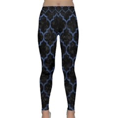 Tile1 Black Marble & Blue Stone Classic Yoga Leggings by trendistuff