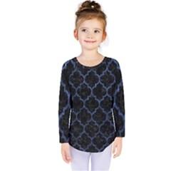 Tile1 Black Marble & Blue Stone Kids  Long Sleeve Tee by trendistuff