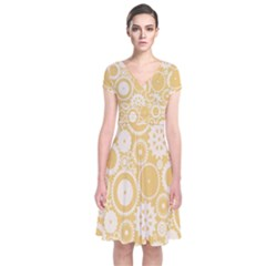 Wheels Star Gold Circle Yellow Short Sleeve Front Wrap Dress