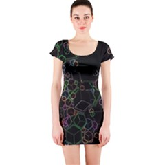 Boxs Black Background Pattern Short Sleeve Bodycon Dress