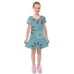 Fish Animals Star Brown Blue White Kids  Short Sleeve Velvet Dress by Alisyart