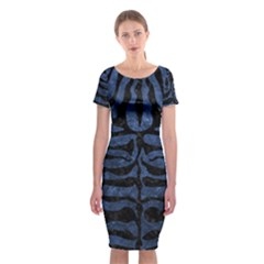 Skin2 Black Marble & Blue Stone (r) Classic Short Sleeve Midi Dress by trendistuff
