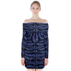 Skin2 Black Marble & Blue Stone (r) Long Sleeve Off Shoulder Dress by trendistuff