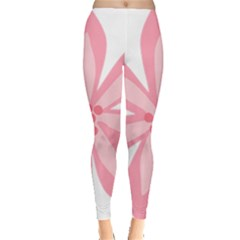 Pink Lily Flower Floral Leggings