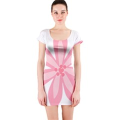 Pink Lily Flower Floral Short Sleeve Bodycon Dress