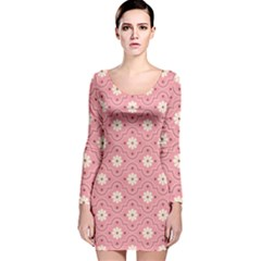 Pink Flower Floral Long Sleeve Velvet Bodycon Dress by Alisyart