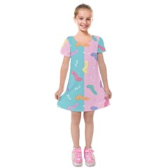 Socks Kids Blue Pink Yellow Purple Green Rainbow Kids  Short Sleeve Velvet Dress by Alisyart
